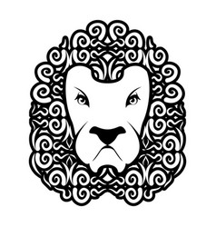 Lion tattoo mane ornament leo tattooing wild vector