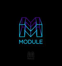 m monogram module build logo box letters vector image