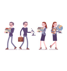 male and female teacher at work vector image