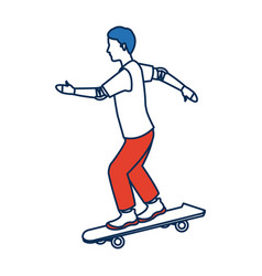 Man skating on skateboard icon sport vector