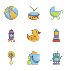 many toys icons set cartoon style vector image