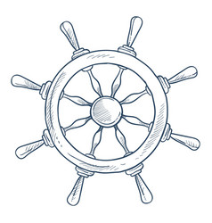 marine symbol steering or rudder wheel ship part vector image