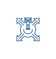 Market positioningman with cross arrows line icon vector