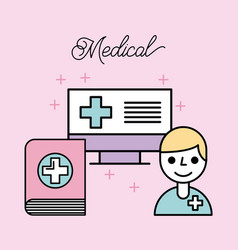 Medical doctor cartoon book and computer online vector