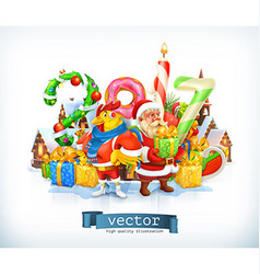 Merry Christmas and Happy New Year 2017 Santa vector
