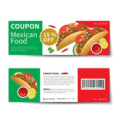 Mexican food coupon discount template flat design vector