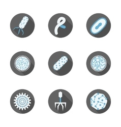 Microbiology round flat icons set vector