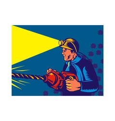 miner with jack drill vector image