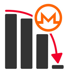monero falling acceleration graph flat icon vector image