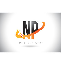 np n p letter logo with fire flames design and vector image