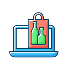 Online drinks ordering rgb color icon vector