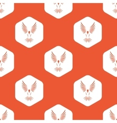 Orange hexagon bird pattern vector