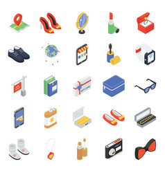 Pack e shopping isometric icons vector