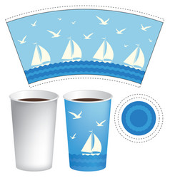Paper cup template with sailboats in the sea vector