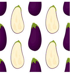 Pattern with eggplant vector
