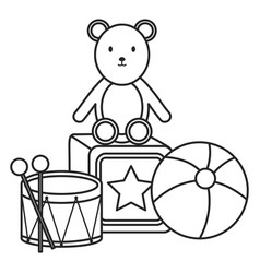 plastic balloon with teddy and toys vector image