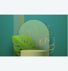 product podium with golden monstera leaf line art vector image