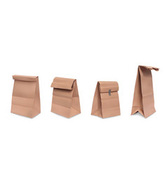Realistic set brown paper grocery bags vector