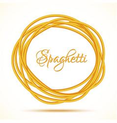 Realistic Twisted Spaghetti Pasta Circle Frame vector