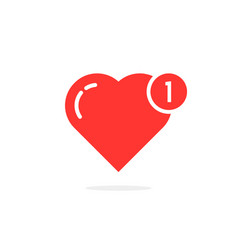 Red simple heart like notification vector