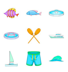 Sailing sport icons set cartoon style vector
