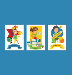 school supplies boy girl character kids vector image