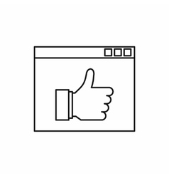 Screen with thumbs up sign icon outline style vector