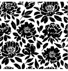 seamless floral pattern with peonies roses vector image