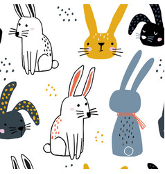 seamless pattern with cute hand drawn bunnies vector image