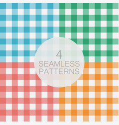 set gingham seamless pattern vector image