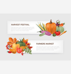 set horizontal web banner templates with place vector image
