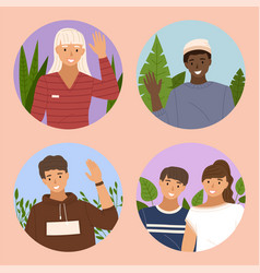 set pictures about people wave their hands vector image