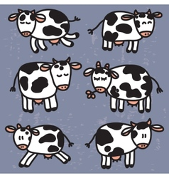 set with cute cows EPS10 vector image