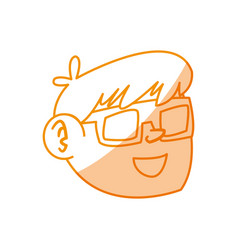 Silhouette nice boy face using 3d glasses vector