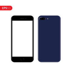Smartphone mobile phone blue color mockup vector