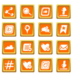 social network icons set orange square vector image