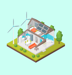 solar cell system in home concept 3d isometric vector image
