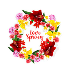 Spring flowers bouquet or floral wreath vector