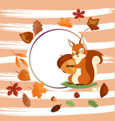 Squirrel hugging acorn and standing on grass vector