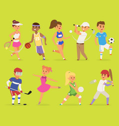 ssportsmen cartoon characters boy and girl vector image