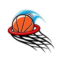 stylish basketball through hoop logo vector image