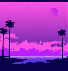 Synthwave poster with beach and palms pink sunset vector
