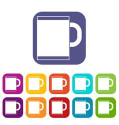 Tea mug icons set vector