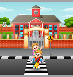 two boy crossing the street vector image