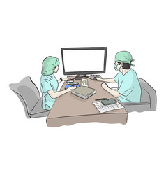 Two doctors team working at computer desk vector