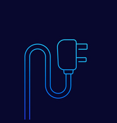 Uk plug with cord line icon vector