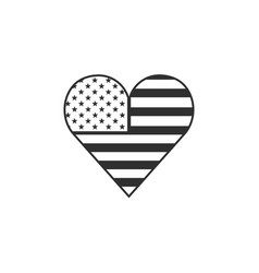 united states flag icon in a heart shape in black vector image