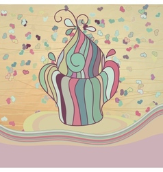 Valentines card with cupcake EPS8 vector image