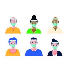 variety people wearing masks vector image