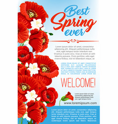 Welcome spring floral greeting poster vector